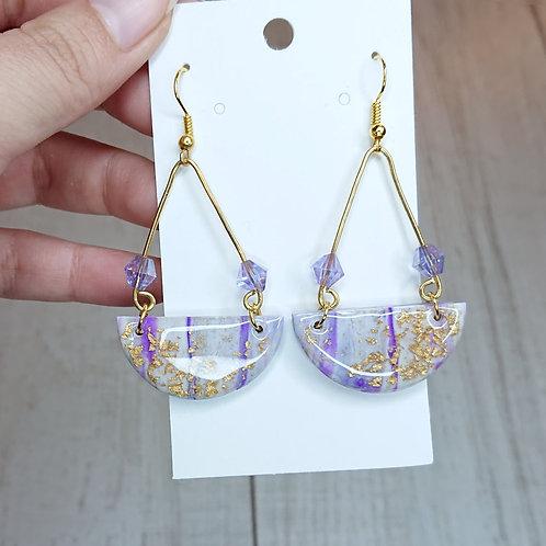 Boucles d'oreilles marbré lilas #1