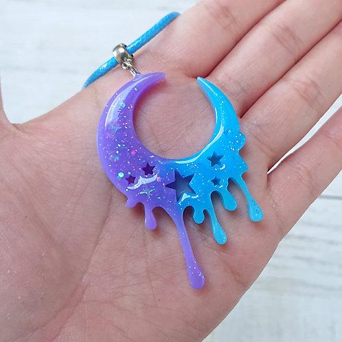Collier Lune bleu et violet
