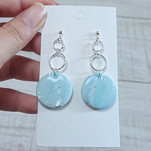 Boucles d'oreilles mabré bleu #07