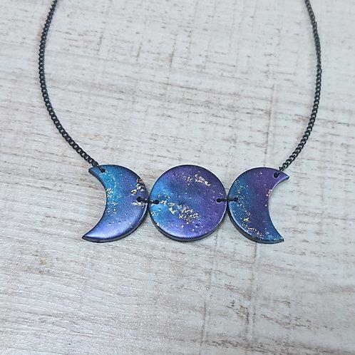 Collier Triple Lune Galaxy grand #02