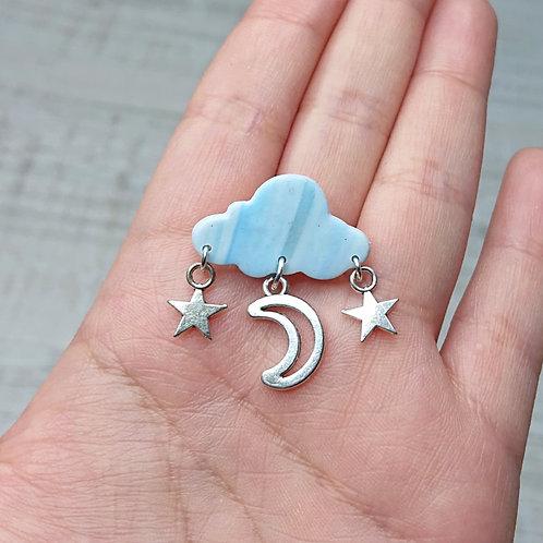 """Broche """"Pluie d'Etoiles"""" petit nuage"""