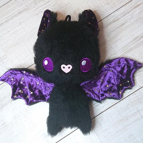 Peluche chauve-souris velours étoilé violet