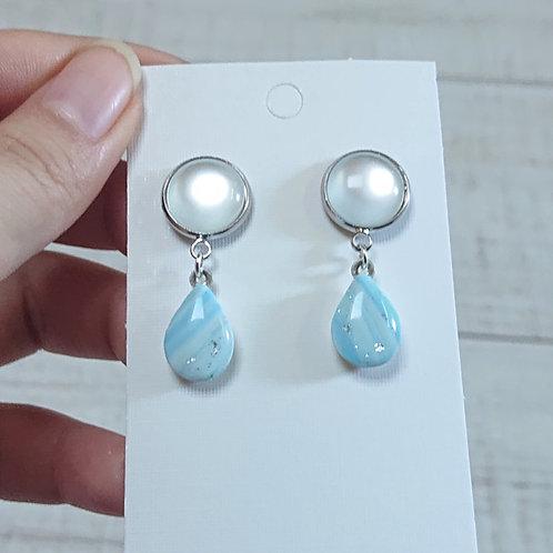 Boucles d'oreilles mabré bleu #01