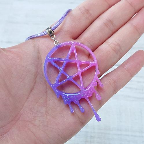 Collier Pentacle rose et violet