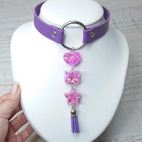 Choker violet Guirlande kawaii Coeur/Chat/Etoile