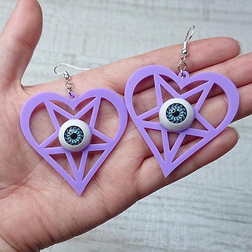 Boucles d'oreilles Coeur pentacle lilas yeux bleus