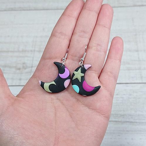 """Boucles d'oreilles """"Kawaii Galaxy"""" lunes"""