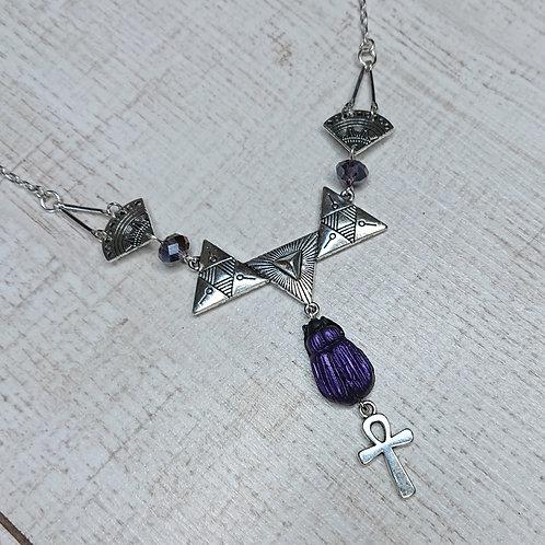 Collier Scarabée ankh violet