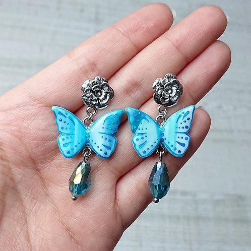 Boucles d'oreilles Papillons bleus