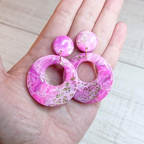 """Boucles d'oreilles """"Rose Précieux"""" grands anneaux"""