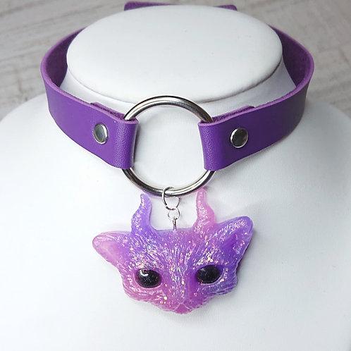 Choker violet Chat rose et violet