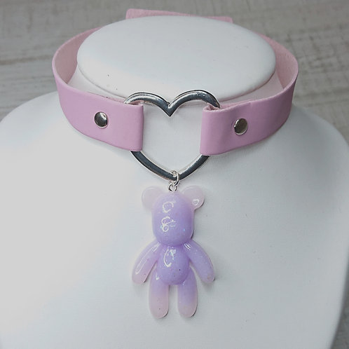 Choker rose ourson lilas