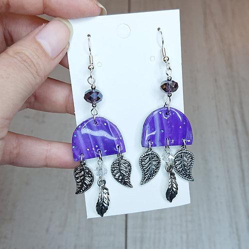 Boucles d'oreilles marbré violet #3