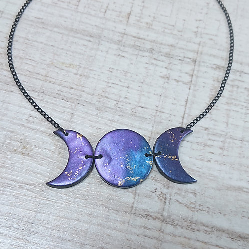 Collier Triple Lune Galaxy grand #01