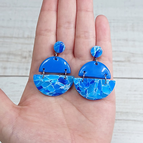 """Boucles d'oreilles """"Quartz Bleu"""" demi cercles"""