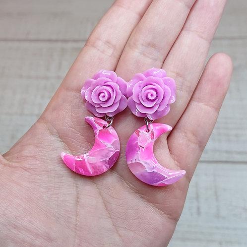 """Boucles d'oreilles """"Roses de Lune"""" rose et lilas #02"""