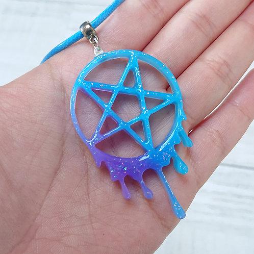 Collier Pentacle bleu et violet