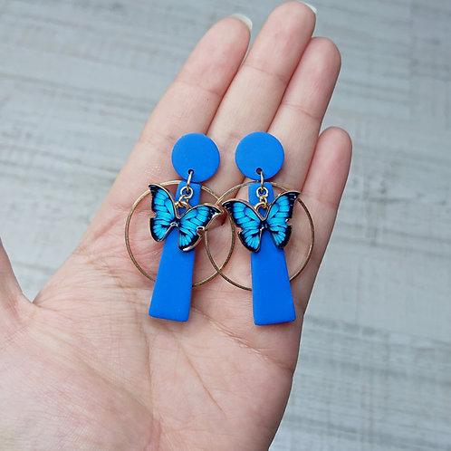 """Boucles d'oreilles """"Royale"""" Morpho Bleu"""