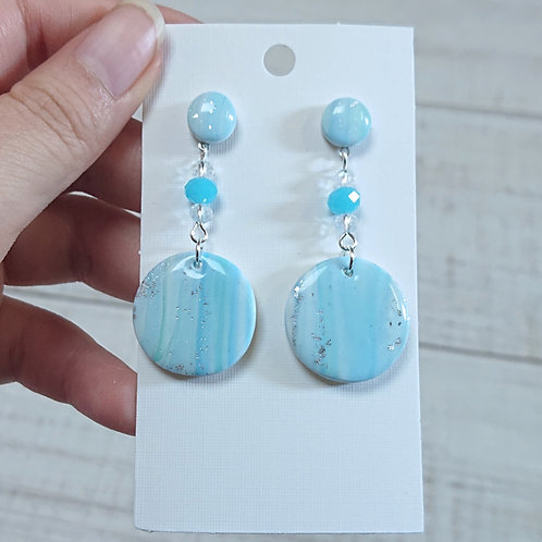 Boucles d'oreilles mabré bleu #06
