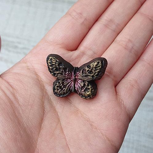 """Broche """"Entomologie"""" papillon doré et rouge"""
