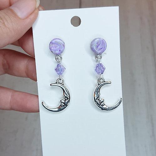 Boucles d'oreilles Lunes lilas #2