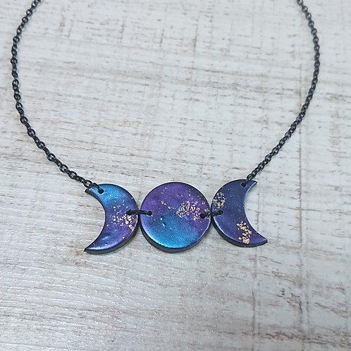 Collier Triple Lune Galaxy #01
