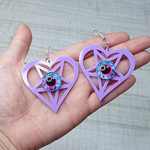 Boucles d'oreilles Coeur pentacle lilas yeux bleus et roses