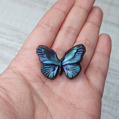 "Broche ""Entomologie"" papillon irisé"