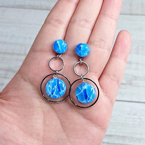 """Boucles d'oreilles """"Quartz Bleu"""" cercles"""