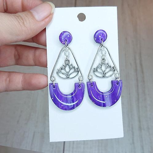 Boucles d'oreilles marbré violet #6