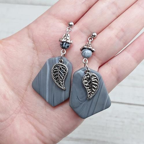 """Boucles d'oreilles """"Rivière"""" feuilles"""