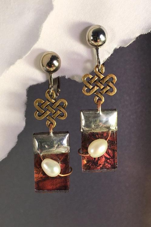 Van Gogh red copper dangling clip earrings (medium)