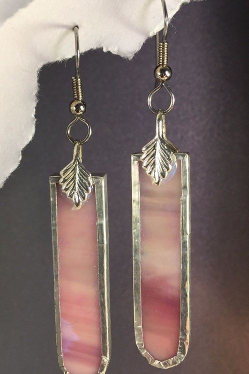 Pink iridized french wire earrings (long)