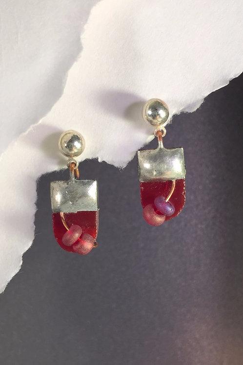 Fire engine red ball post earrings (short)