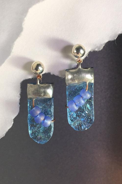 Light blue iridized ball post earrings (medium)