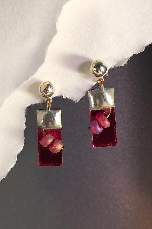 Red mirror ball post earrings (short)