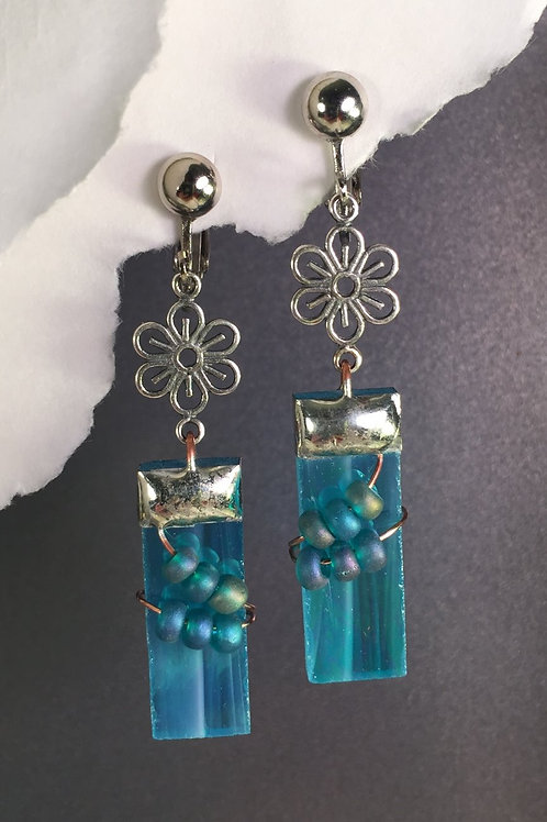 Aqua iridized dangling clip earrings (long)