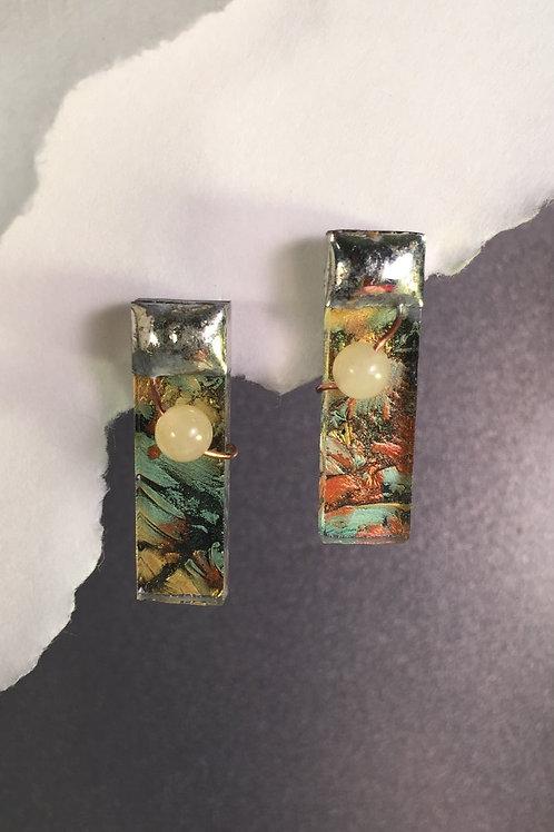 Van Gogh amber green post earrings (medium)