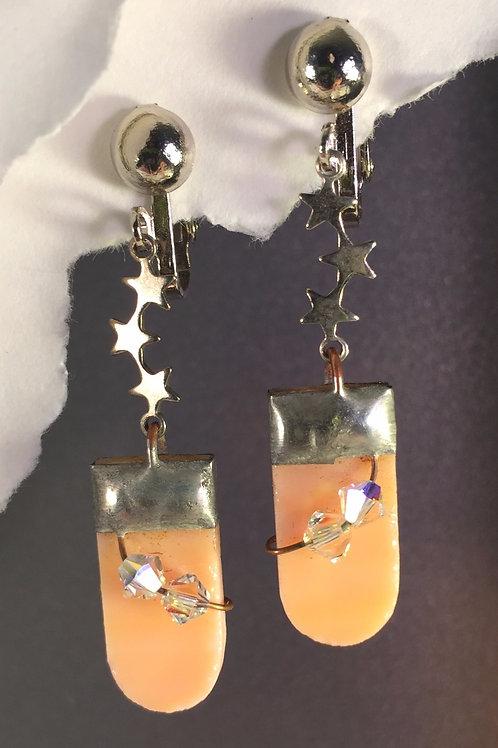 Creamsicle orange dangling clip earrings (long)
