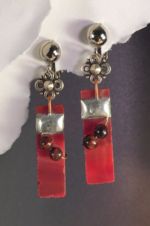 Fire engine red dangling clip earrings (long)