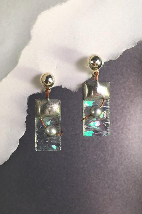 Clear iridized ball post earrings (short)