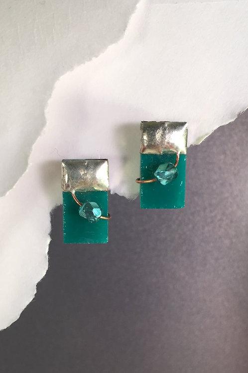 Teal post earrings (medium)