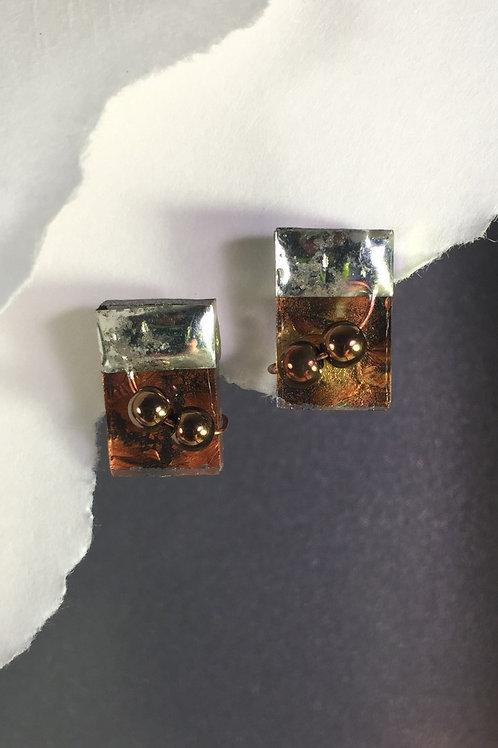 Van Gogh amber copper post earrings (medium)