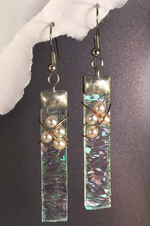 Clear iridized french wire earrings (long)
