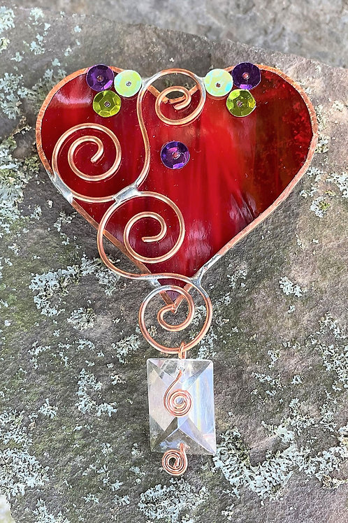 Heart Glass Window Ornament with sparkles