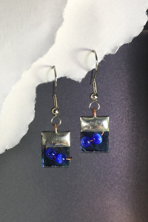 Van Gogh blue green french wire earrings (short)