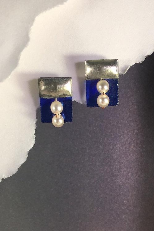 Cobalt blue iridized post earrings (medium)