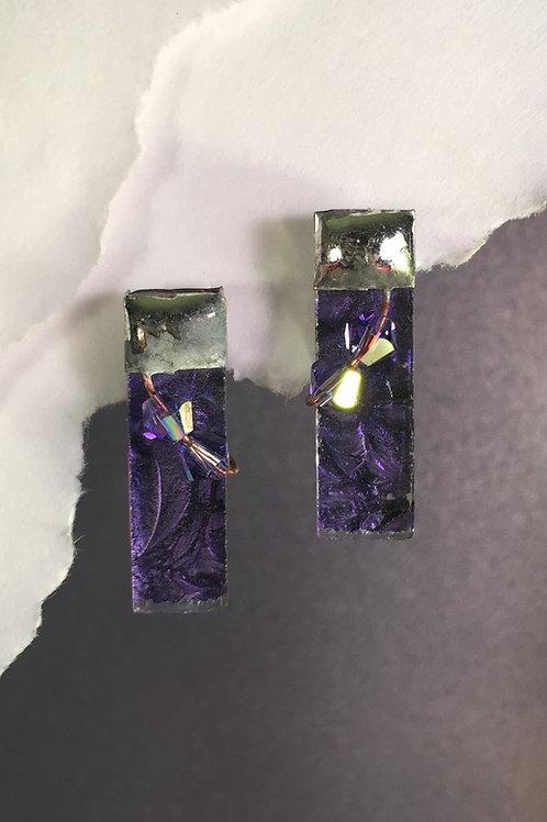 Van Gogh purple post earrings (medium)