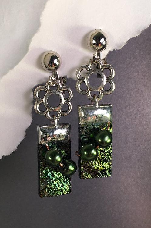 Black iridized dangling clip earrings (long)
