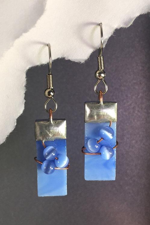 Sky blue french wire earrings (medium)